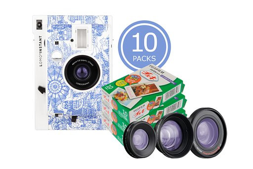 Save up to 20% on Film with the  Lomo'Instant Camera and Lenses (Explorer Edition) & 10x Fujifilm Instax Mini Film Bundle!