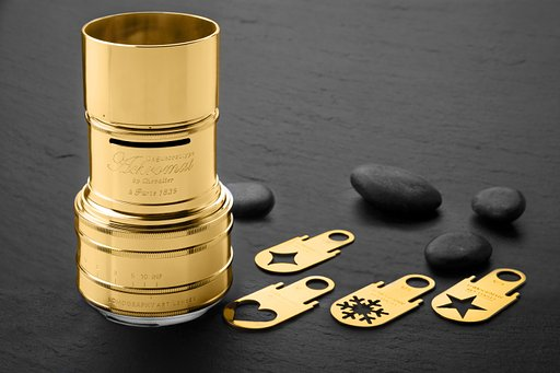 ใหม่! เลนส์ Daguerreotype Achromat 2.9/64 Art Brass, Gold Plated