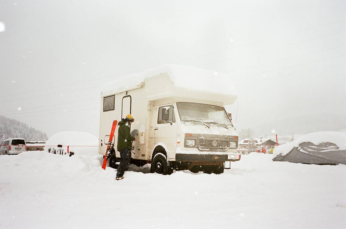 Dreamy Snowboard Adventure In A Convertible Camper