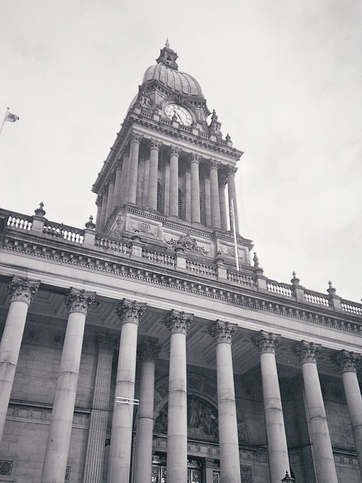 Around Leeds Town Hall in Black and White