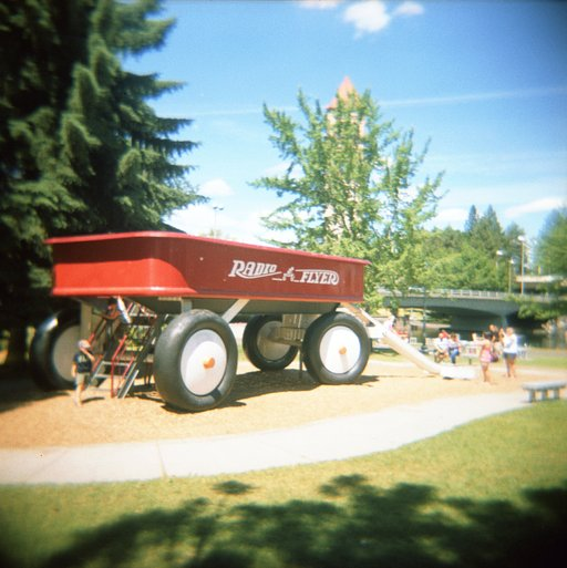 Someone's favorite childhood hangout: the World's Largest Radio Flyer Wagon