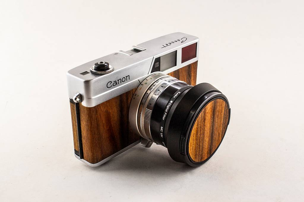 Re-skinning a Canon Canonet in Santos Rosewood