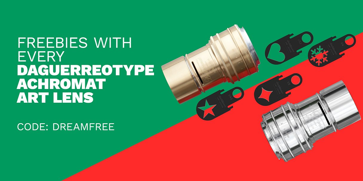Get a Free Experimental Aperture Plate Kit and Accessory Keeper with Every Daguerreotype Achromat 2.9/64 Art Lens!