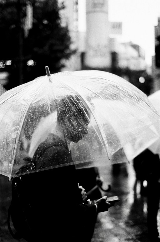 Tokyo's Misty Umbrellas by Maachew Bentley with Earl Grey B&W 100 Film