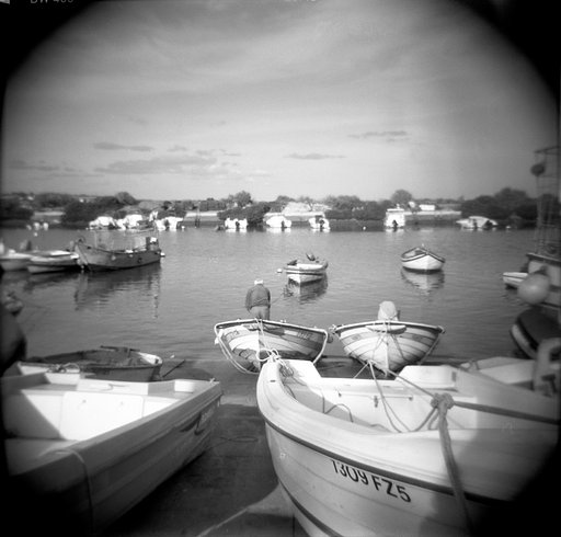 Fuzeta: A Portuguese Fishing Village in Black And White