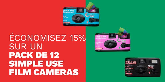 Economisez 15% sur le pack de 12 Simple Use Film Cameras !