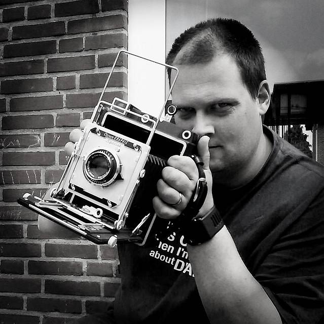 Author brian auer with a functioning medium format graflex crown graphic sourced from feeling negative