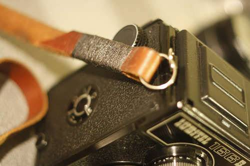 Thread Wrapped Leather Camera Strap
