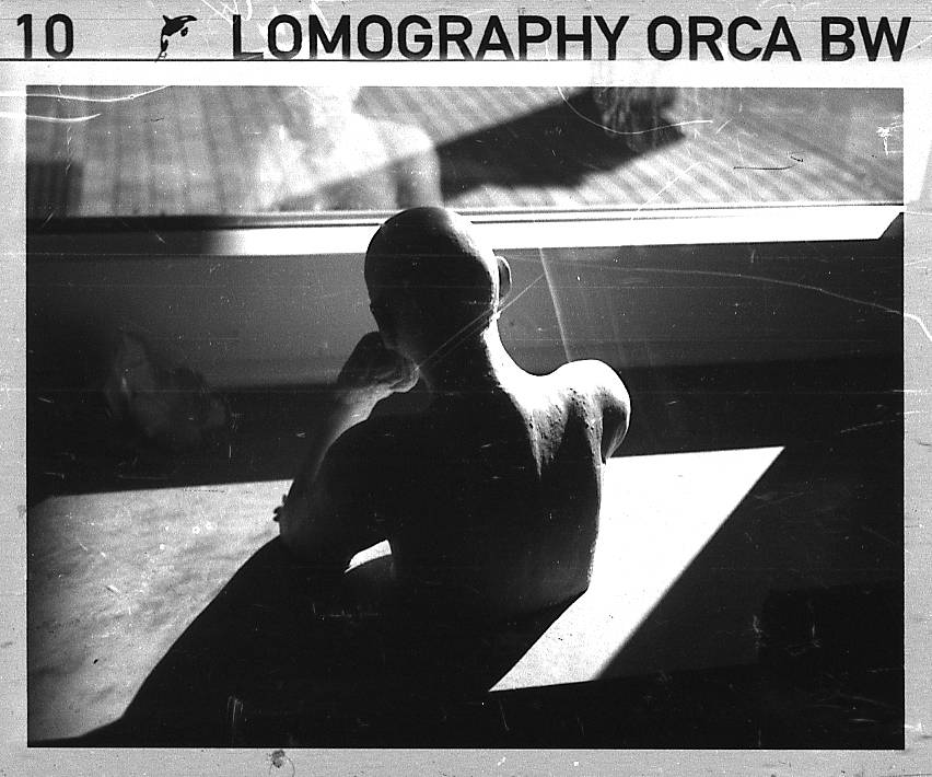 Playing with grain, shadows, and light with the Lomography B&W Orca 100 ISO 110 film!