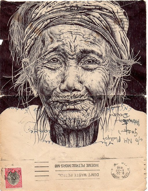 Biro Pen Drawings on Antique Paper by Mark Powell
