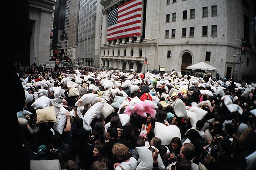 Pillow Fighting at Wall Street