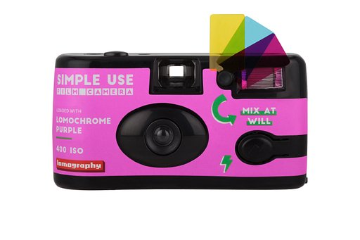 Mondo di un viola psichedelico con la Simple Use Film Camera di Lomography